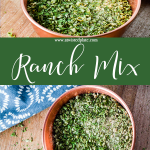 """Pinterest Image for Ranch Mix. Top image is an angled view of Ranch Mix in a red copper bowl with a wooden background. Below is a green text box with white script stating """"Ranch Mix"""". Bottom Image is a top view of Ranch Mix in a red copper bowl with a wood background and blue and white towel in the top left corner. www.atwistedplate.com"""