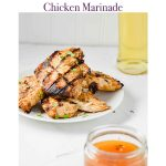 Pinterest Image for BBQ and Mustard Chicken Marinade. Against a white background in purple script it states BBQ and Mustard Chicken Marinade. Below is an image for BBQ and Mustard Chicken Marinade. In that image at the bottom right there is a jar of the BBQ and Mustard Chicken Marinade. In the middle left of the image are four pieces of grilled chicken on a white plate topped with parsley. In the top left there is the a jar of olive oil. https://www.atwistedplate.com/bbq-and-mustard-chicken-marinade/