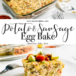 Pinterest image for Easy Potato and Sausage with an image of a plate with the bake and a picture of the casserole dish with orange juice. www.atwistedplate.com/Easy-Potato-and-Sausage-Bake/